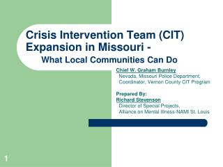 Crisis Intervention Team (CIT) Expansion in Missouri -  What Local Communities Can Do
