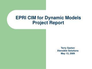EPRI CIM for Dynamic Models Project Report