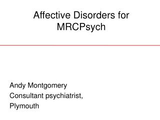 Affective Disorders for MRCPsych