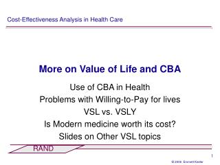 More on Value of Life and CBA