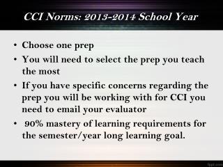 CCI Norms: 2013-2014 School Year