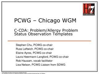 PCWG – Chicago WGM C-CDA: Problem/Allergy Problem Status Observation Templates