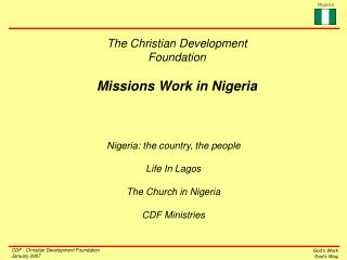 The Christian Development Foundation Missions Work in Nigeria