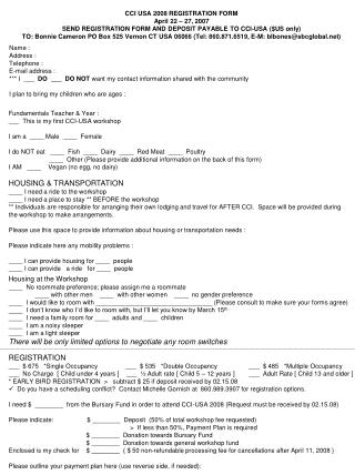CCI USA 2008 REGISTRATION FORM April 22 – 27, 2007