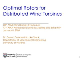Optimal Rotors for Distributed Wind Turbines