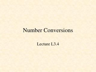 Number Conversions