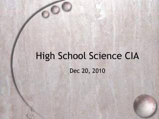 High School Science CIA