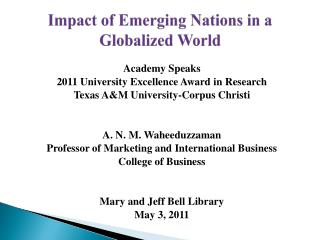 Impact of Emerging Nations in a Globalized World