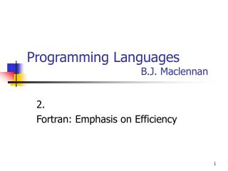Programming Languages       B.J. Maclennan