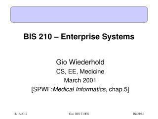 BIS 210 – Enterprise Systems