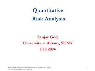 Quantitative   Risk Analysis Sanjay Goel University at Albany, SUNY Fall 2004