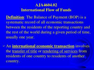AJA4604.02 International Flow of Funds