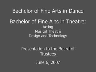 Bachelor of Fine Arts in Dance
