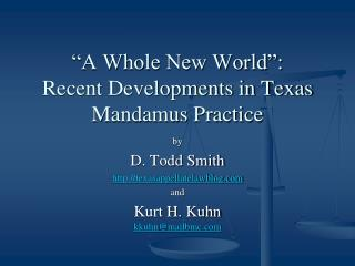 """A Whole New World"": Recent Developments in Texas Mandamus Practice"