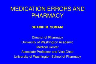 MEDICATION ERRORS AND PHARMACY