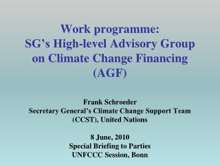 Establishment of  Working Groups