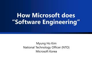 "How Microsoft does ""Software Engineering"""