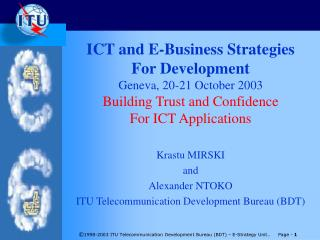 Krastu MIRSKI and Alexander NTOKO  ITU Telecommunication Development Bureau (BDT)