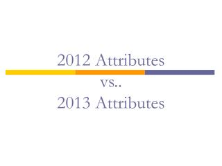 2012 Attributes  vs..  2013 Attributes