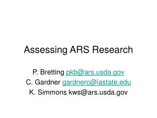 Assessing ARS Research