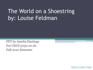 The World on a Shoestring by: Louise Feldman
