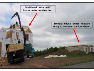 """Traditional """"stick built"""" house under construction."""