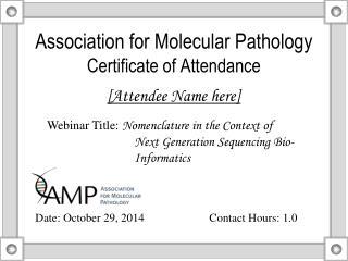 Association for Molecular Pathology Certificate of Attendance