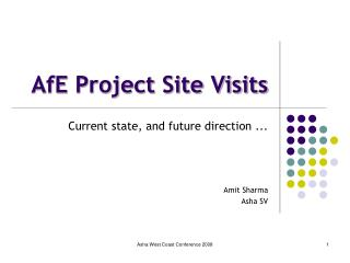 AfE Project Site Visits
