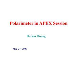Polarimeter in APEX Session