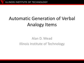 Automatic Generation of Verbal Analogy Items