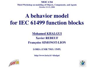 A behavior model  for IEC 61499 function blocks