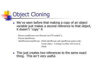 Object Cloning