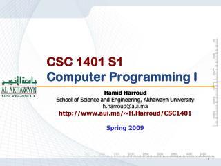 CSC 1401 S1 Computer Programming I