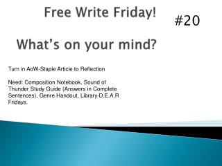 Free Write Friday! What's on your mind?