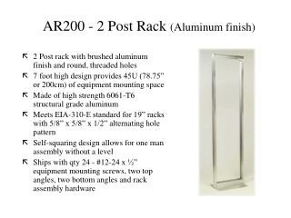 AR200 - 2 Post Rack  (Aluminum finish)