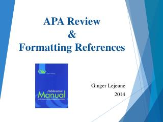APA Review & Formatting References