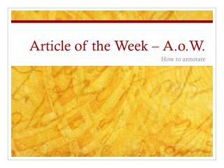 Article of the Week � A.o.W.