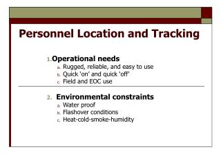 Personnel Location and Tracking