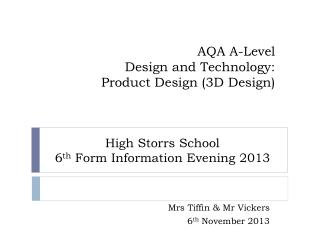 AQA A-Level  Design and Technology:  Product Design (3D Design)