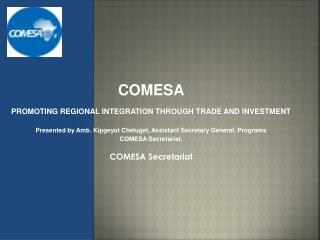 COMESA PROMOTING REGIONAL INTEGRATION THROUGH TRADE AND INVESTMENT