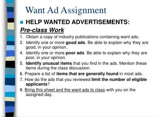 Want Ad Assignment