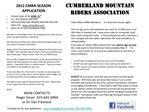 2012 CMRA SEASON APPLICATION