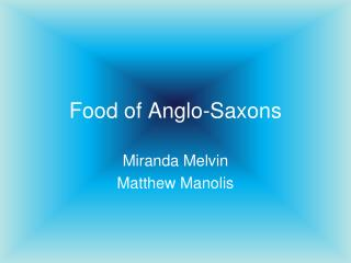 Food of Anglo-Saxons