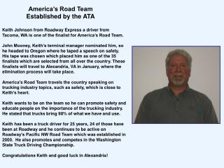 America�s Road Team  Established by the ATA