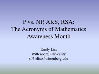 "April 2006:  Mathematics Awareness Month ""Mathematics and Internet Security"""