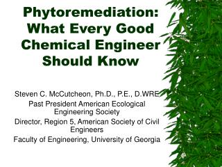 Phytoremediation: What Every Good Chemical Engineer Should Know
