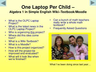 One Laptop Per Child – Algebra 1 in Simple English Wiki–Textbook/Moodle