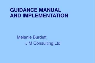 GUIDANCE MANUAL  AND IMPLEMENTATION