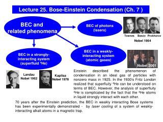 Lecture 25. Bose-Einstein Condensation (Ch. 7 )