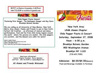 New York Area  UNM Alumni Chapter  Chile Pepper Fiesta & Concert Saturday, September 27, 2008